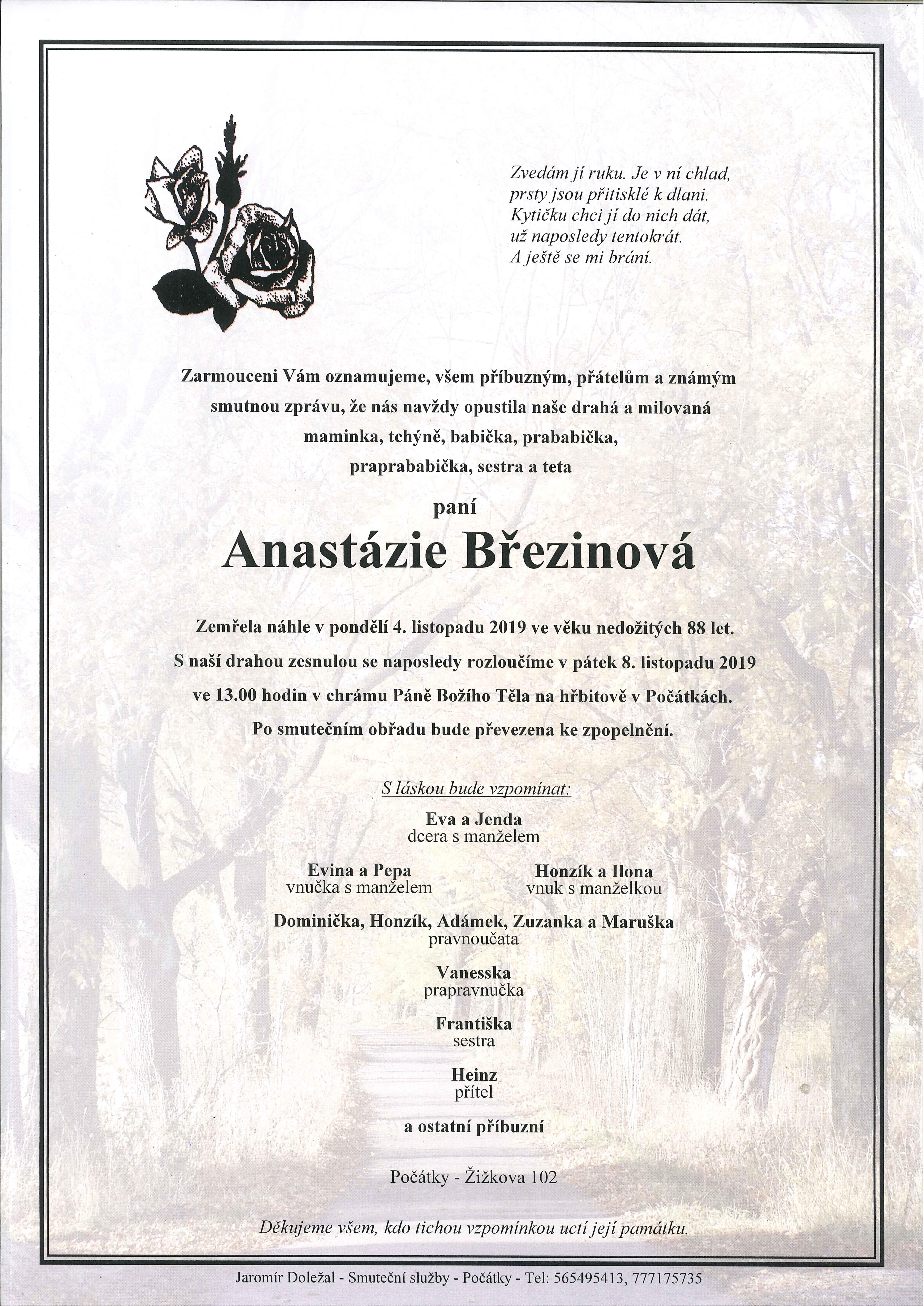 Anastázie Březinová