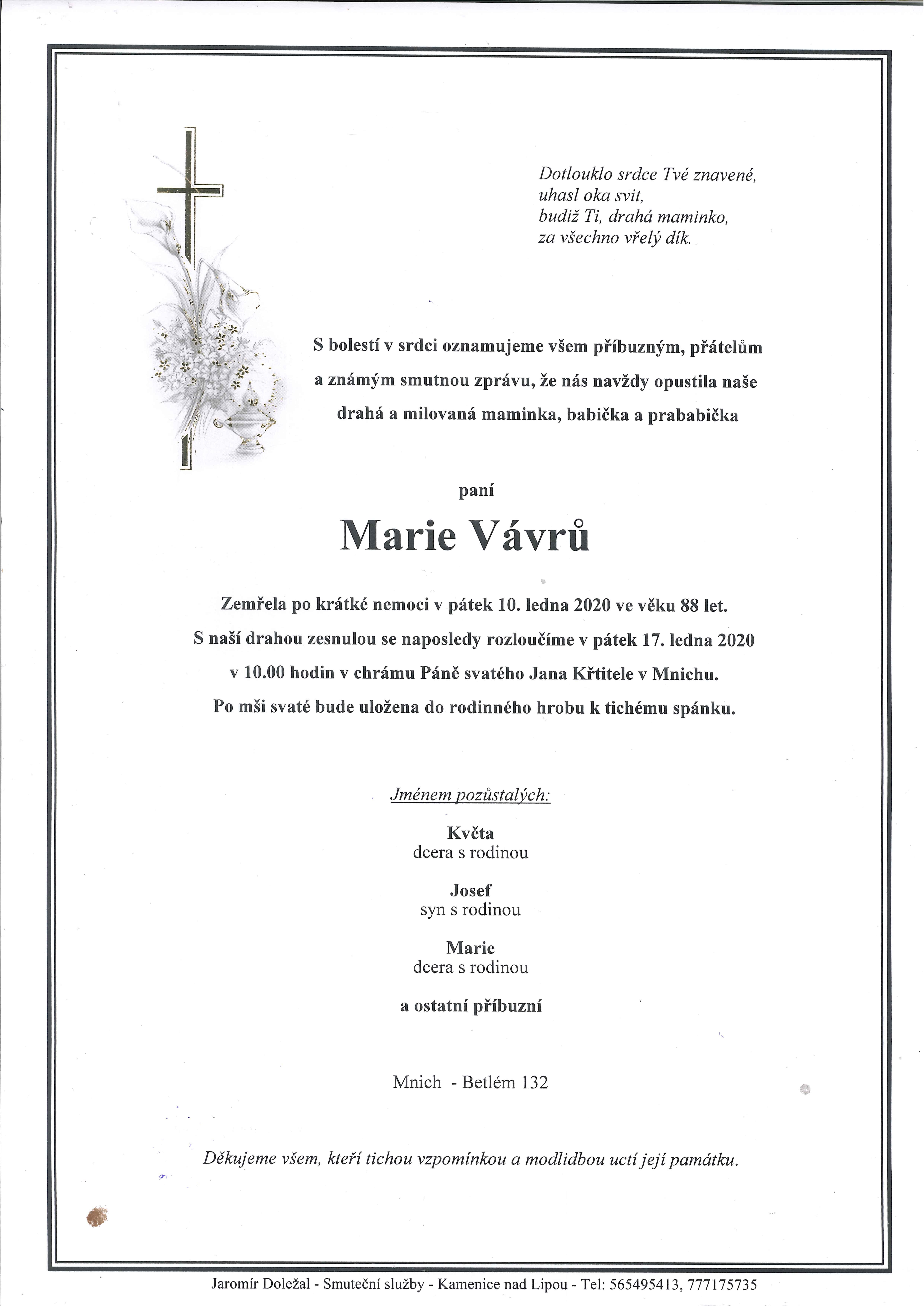 Marie Vávrů