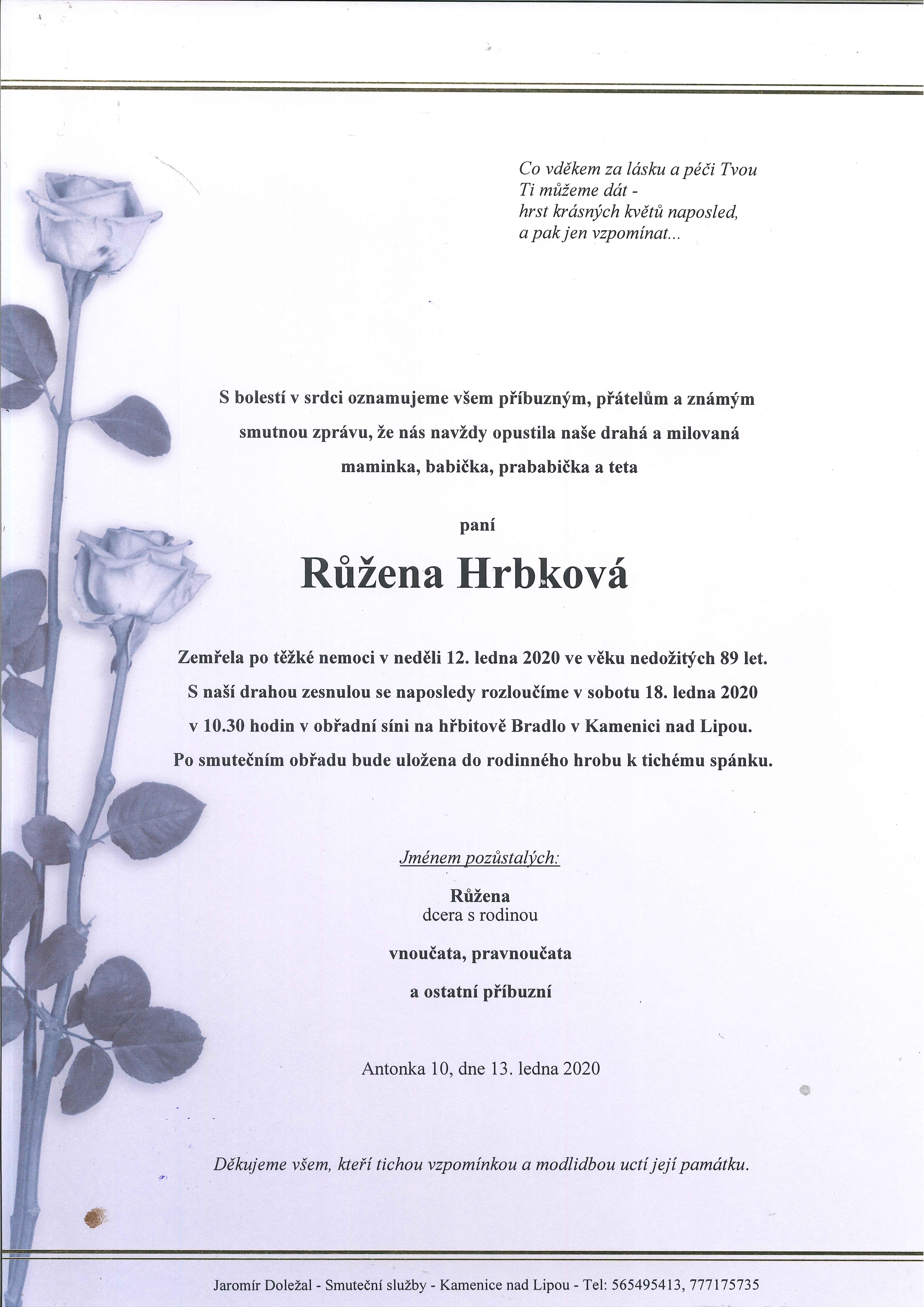 Růžena Hrbková