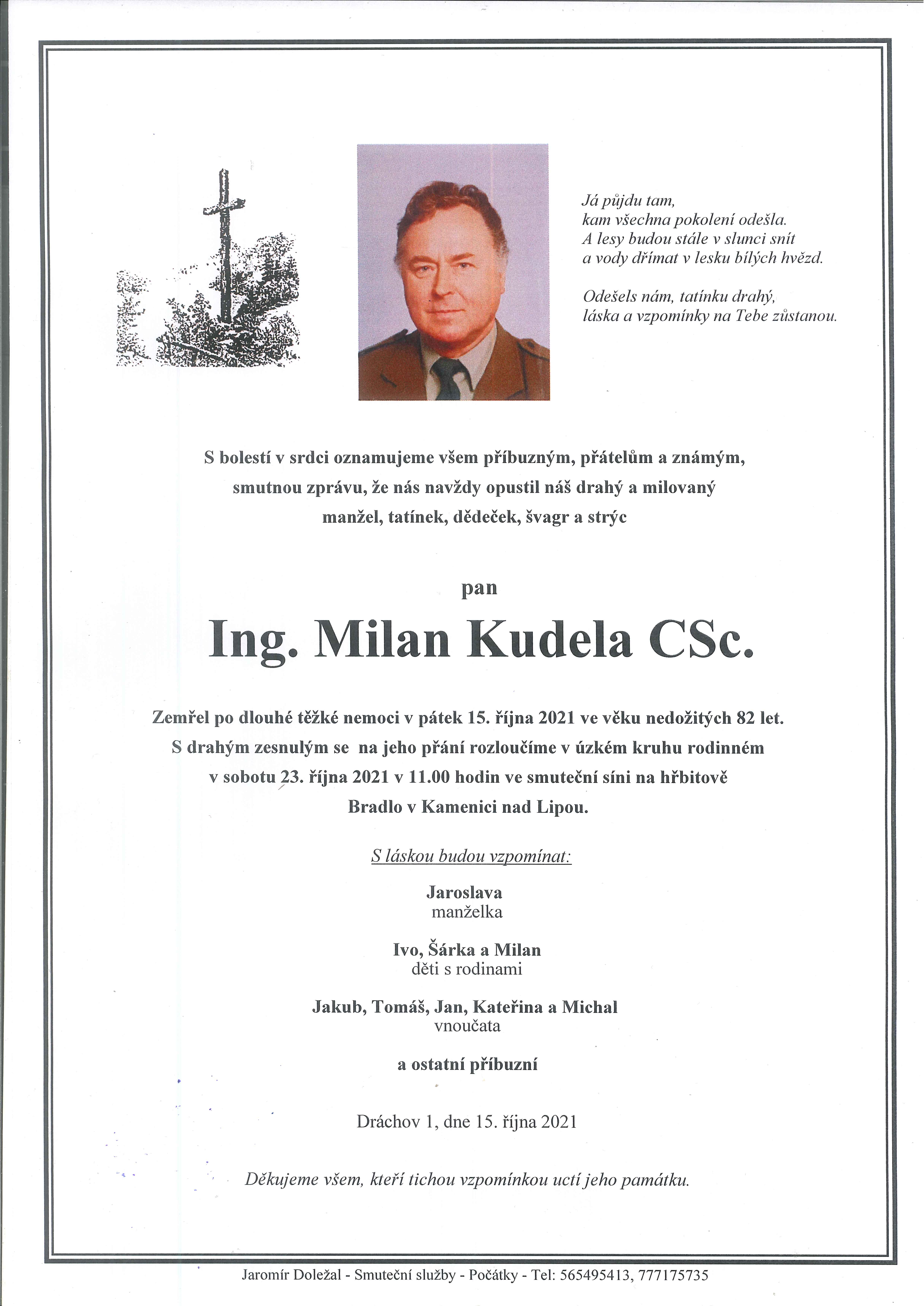 Ing. Milan Kudela CSc.